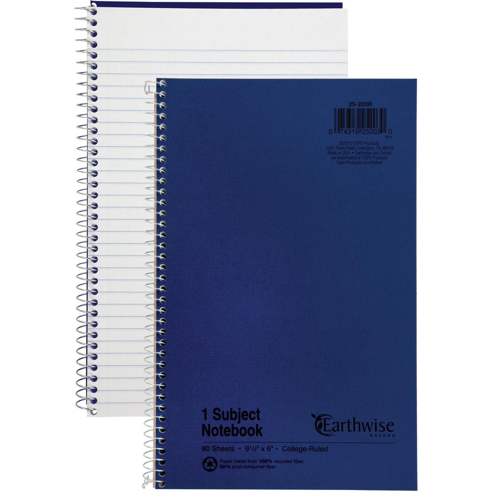 "Ampad Oxford College Rule Recycled Wirebound Notebook - 80 Sheets - Wire Bound - 6"" x 9 1/2"" - Blue Cover - Recycled - 1Each. Picture 1"