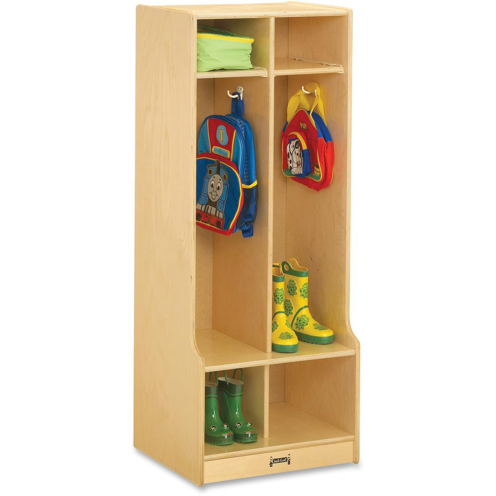 "Jonti-Craft 2 Section Sitting Step Coat Locker - 2 Compartment(s) - 50.5"" Height x 20"" Width x 17.5"" Depth - Baltic - Birch Plywood - 1Each. Picture 1"