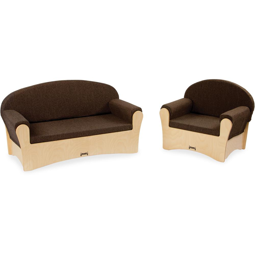 Jonti-Craft Komfy Sofa/Chair 2-piece Set - Rounded Edge - Material: Fabric, Foam, Acrylic - Finish: Baltic, Espresso. Picture 1