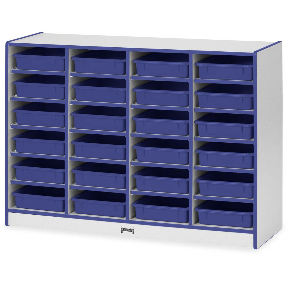 """Rainbow Accents Rainbow Mobile Paper-Tray Storage - 24 Compartment(s) - 35.5"""" Height x 48"""" Width x 15"""" Depth - Blue - Rubber - 1Each. Picture 1"""