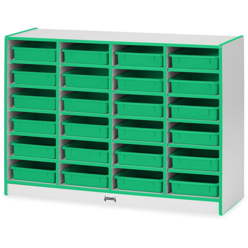 """Rainbow Accents Rainbow Mobile Paper-Tray Storage - 24 Compartment(s) - 35.5"""" Height x 48"""" Width x 15"""" Depth - Green - Rubber - 1Each. Picture 1"""