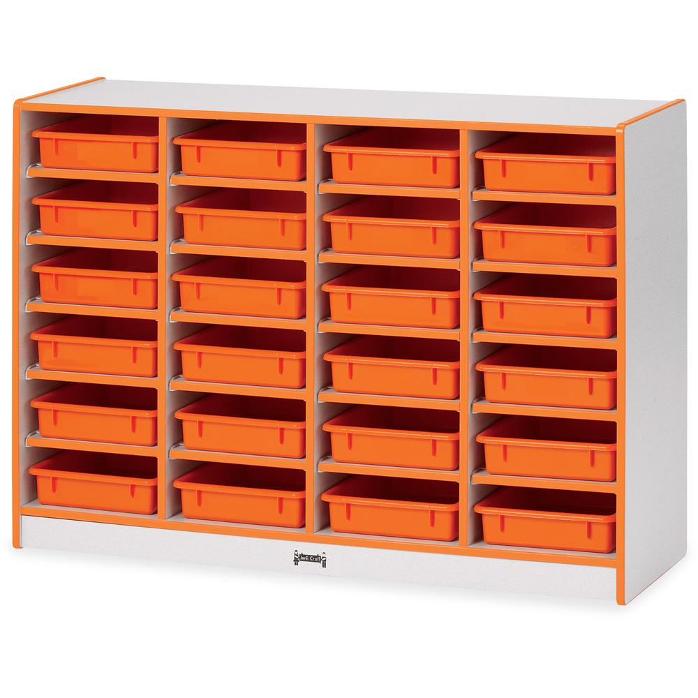 """Rainbow Accents Rainbow Mobile Paper-Tray Storage - 24 Compartment(s) - 35.5"""" Height x 48"""" Width x 15"""" Depth - Orange - Rubber - 1Each. Picture 1"""