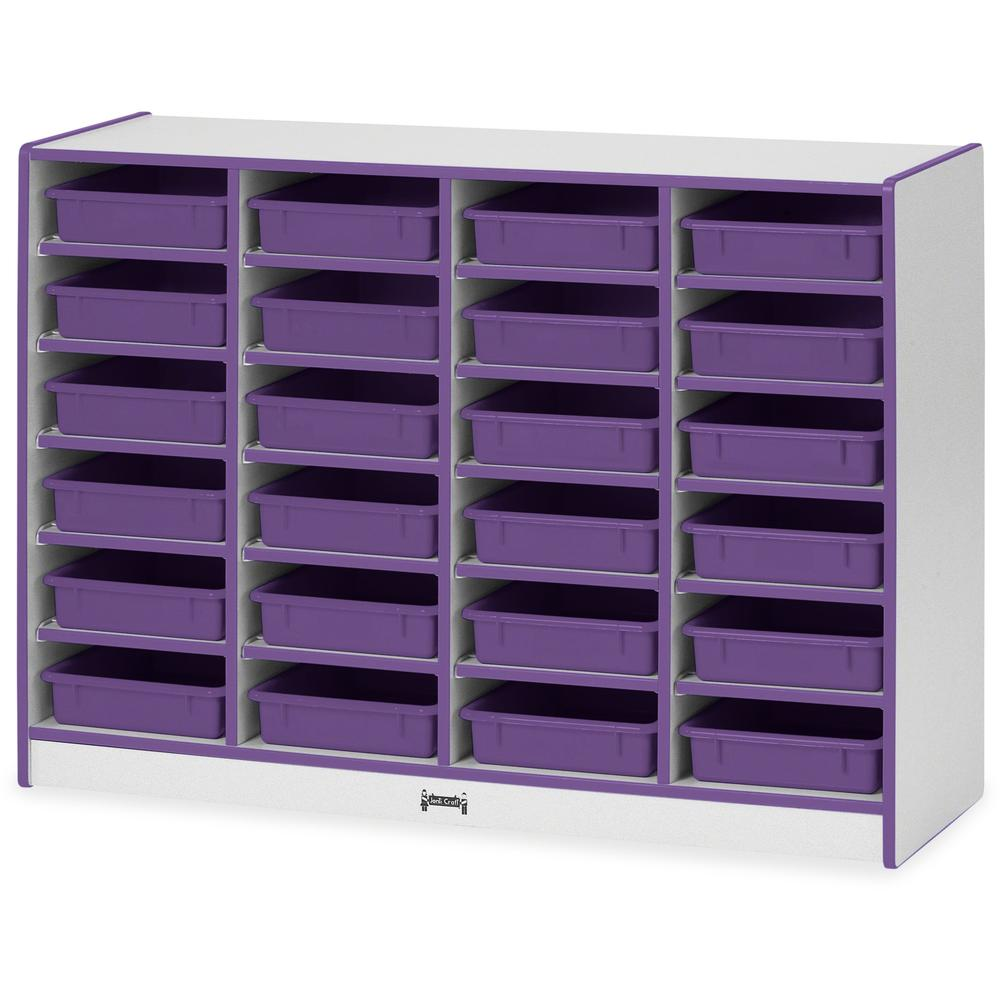 "Rainbow Accents Rainbow Mobile Paper-Tray Storage - 24 Compartment(s) - 35.5"" Height x 48"" Width x 15"" Depth - Purple - Rubber - 1Each"