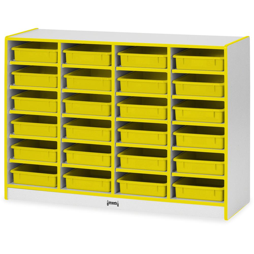 """Rainbow Accents Rainbow Mobile Paper-Tray Storage - 24 Compartment(s) - 35.5"""" Height x 48"""" Width x 15"""" Depth - Yellow - Rubber - 1Each. Picture 1"""