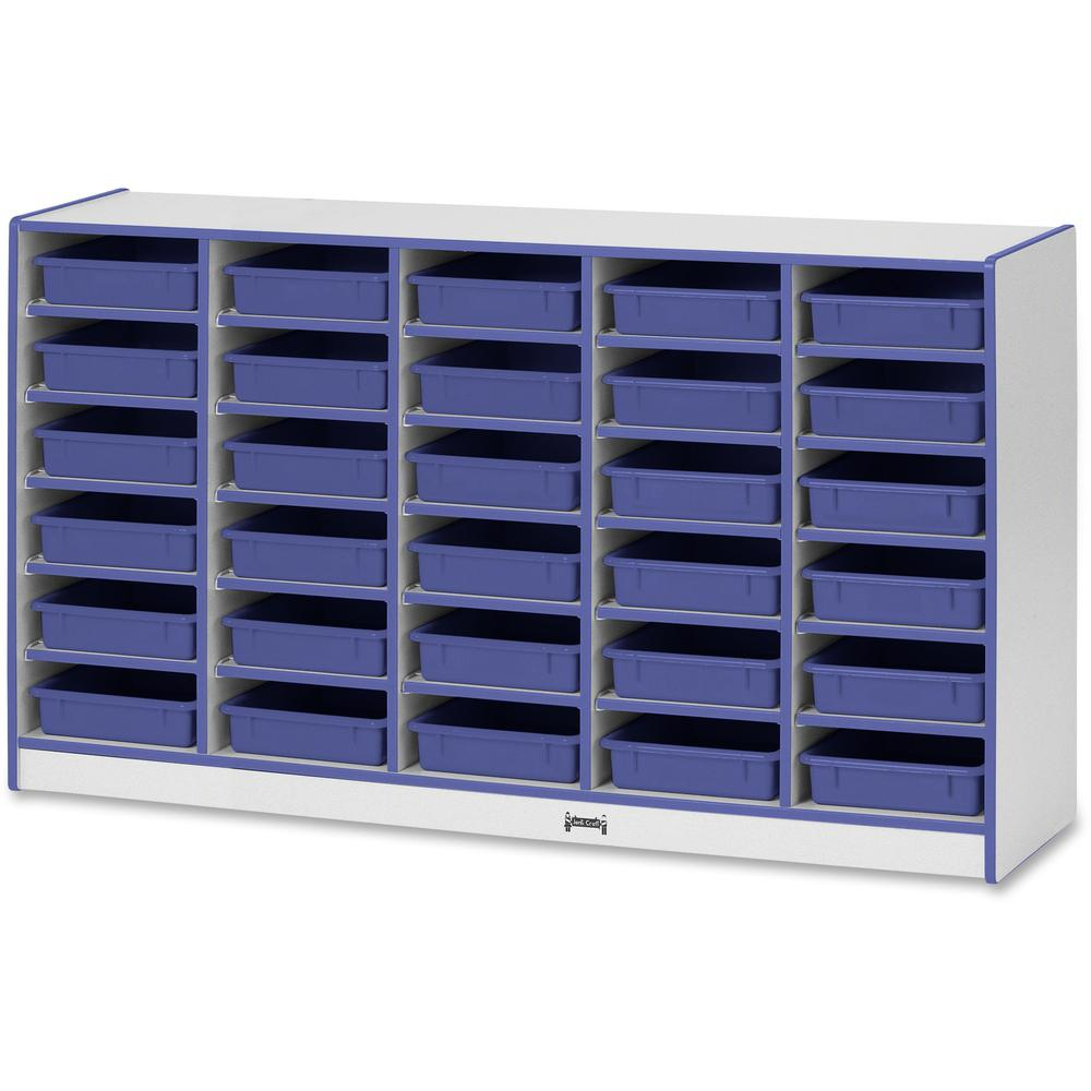 """Rainbow Accents Rainbow Mobile Paper-Tray Storage - 30 Compartment(s) - 35.5"""" Height x 60"""" Width x 15"""" Depth - Blue - Rubber - 1Each. Picture 1"""