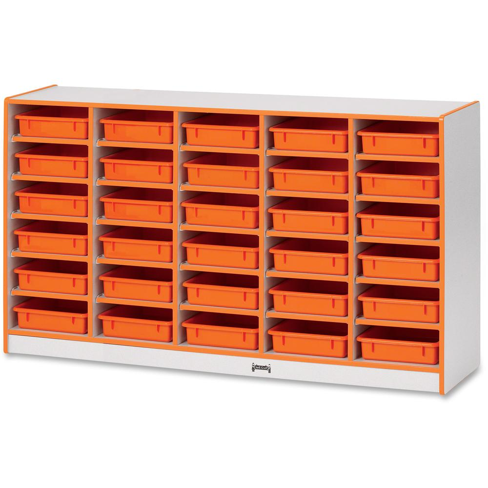 "Rainbow Accents Rainbow Mobile Paper-Tray Storage - 30 Compartment(s) - 35.5"" Height x 60"" Width x 15"" Depth - Orange - Rubber - 1Each. Picture 1"