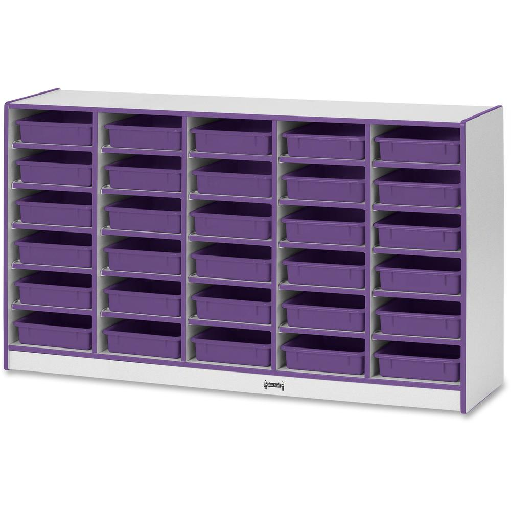 """Rainbow Accents Rainbow Mobile Paper-Tray Storage - 30 Compartment(s) - 35.5"""" Height x 60"""" Width x 15"""" Depth - Purple - Rubber - 1Each. Picture 1"""
