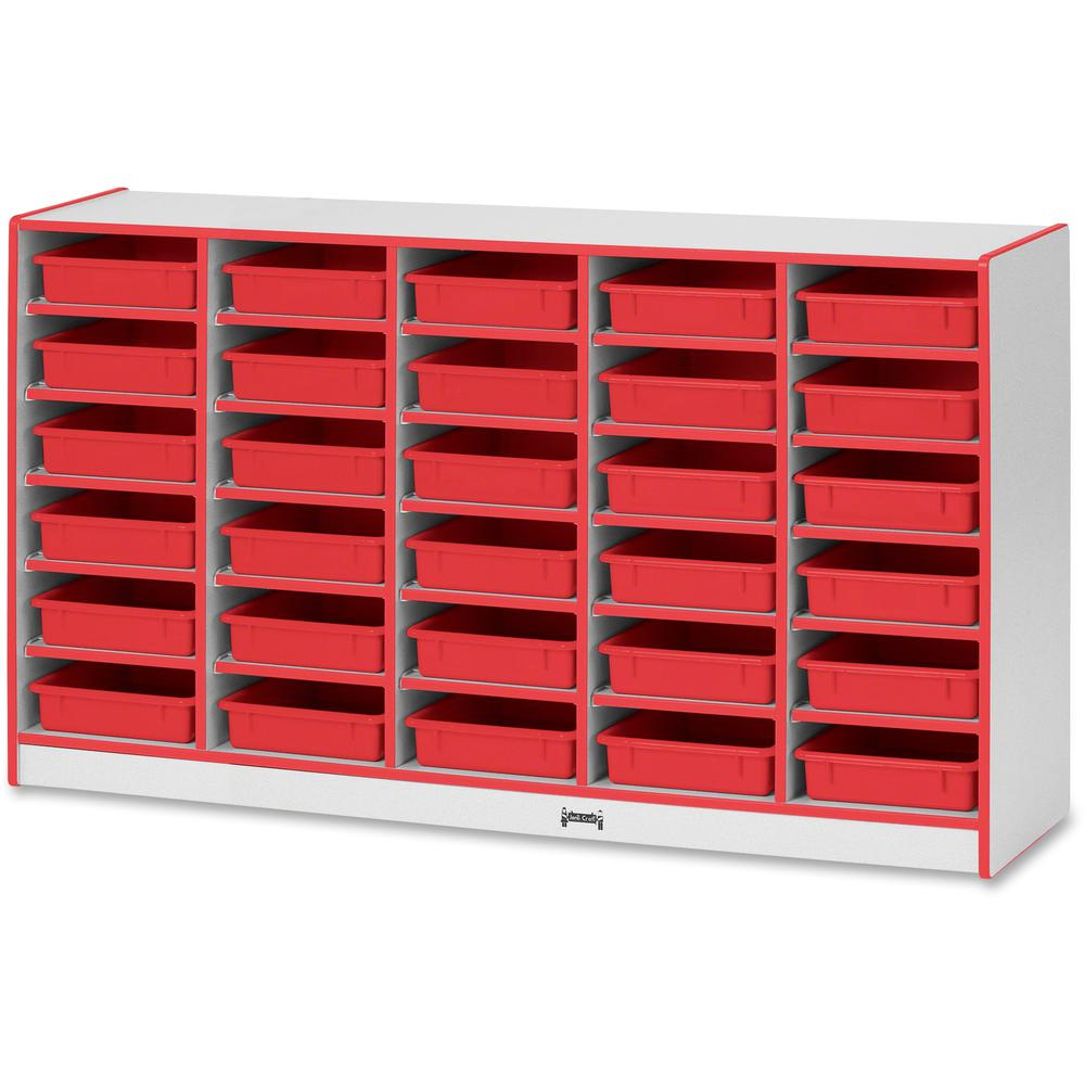 "Rainbow Accents Rainbow Mobile Paper-Tray Storage - 30 Compartment(s) - 35.5"" Height x 60"" Width x 15"" Depth - Red - Rubber - 1Each. Picture 1"