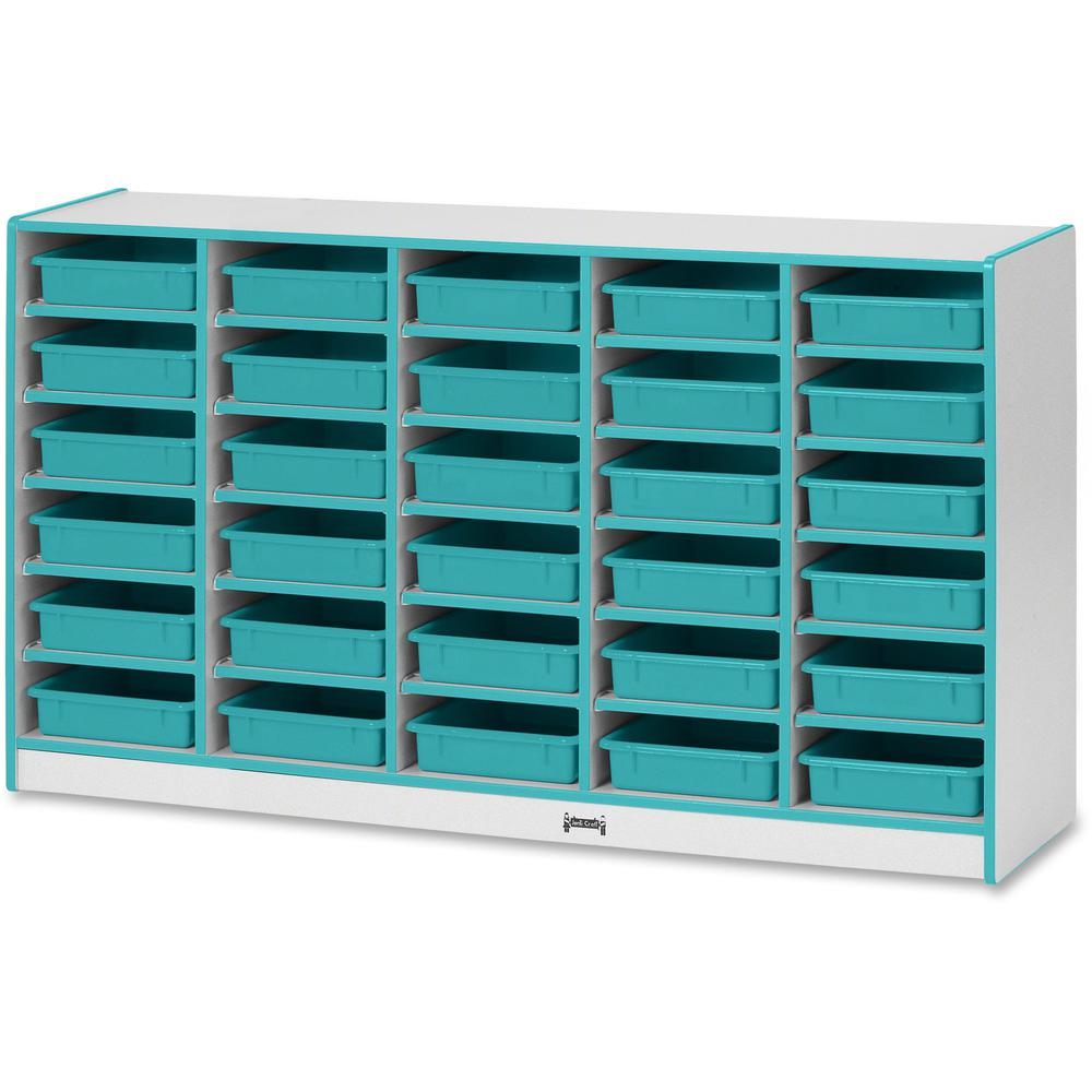 "Rainbow Accents Rainbow Mobile Paper-Tray Storage - 30 Compartment(s) - 35.5"" Height x 60"" Width x 15"" Depth - Teal - Rubber - 1Each. Picture 1"