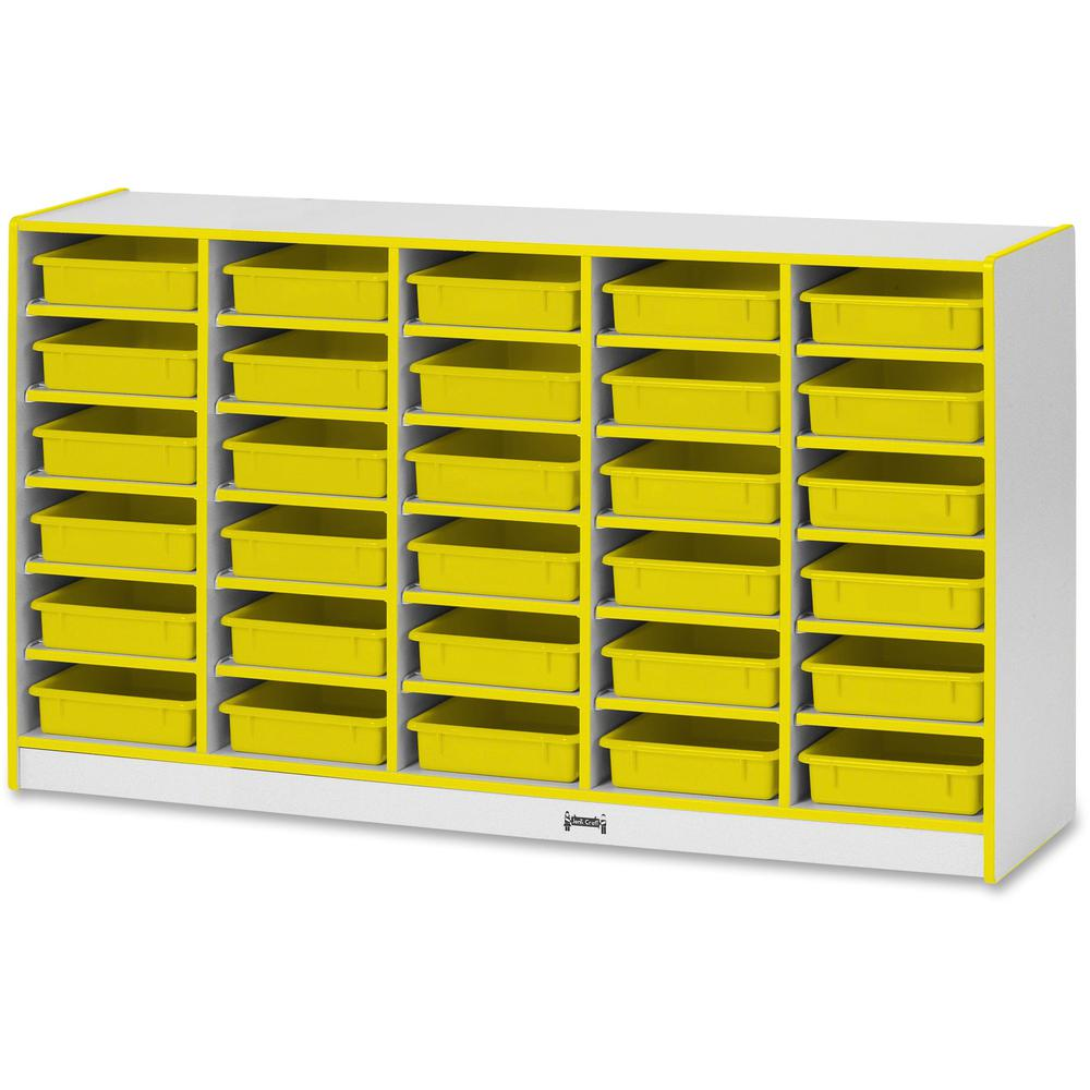 "Rainbow Accents Rainbow Mobile Paper-Tray Storage - 30 Compartment(s) - 35.5"" Height x 60"" Width x 15"" Depth - Yellow - Rubber - 1Each. Picture 1"