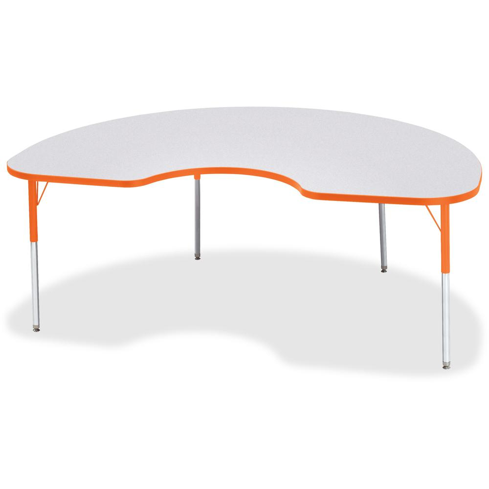 "Jonti-Craft Berries Adult Height Prism Color Edge Kidney Table - Laminated Kidney-shaped, Orange Top - Four Leg Base - 4 Legs - 72"" Table Top Length x 48"" Table Top Width x 1.13"" Table Top Thickness -. Picture 1"
