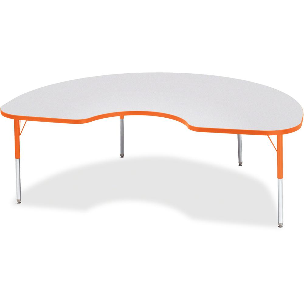"""Berries Elementary Height Color Edge Kidney Table - Laminated Kidney-shaped, Orange Top - Four Leg Base - 4 Legs - 72"""" Table Top Length x 48"""" Table Top Width x 1.13"""" Table Top Thickness - 24"""" Height -. Picture 1"""