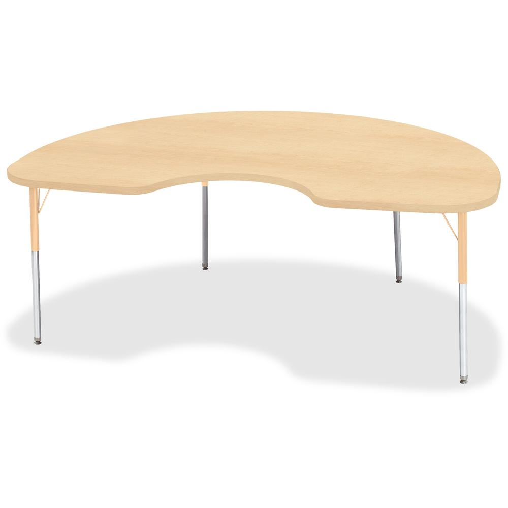 "Berries Adult Height Maple Top/Edge Kidney Table - Laminated Kidney-shaped, Maple Top - Four Leg Base - 4 Legs - 72"" Table Top Length x 48"" Table Top Width x 1.13"" Table Top Thickness - 31"" Height - A. Picture 1"
