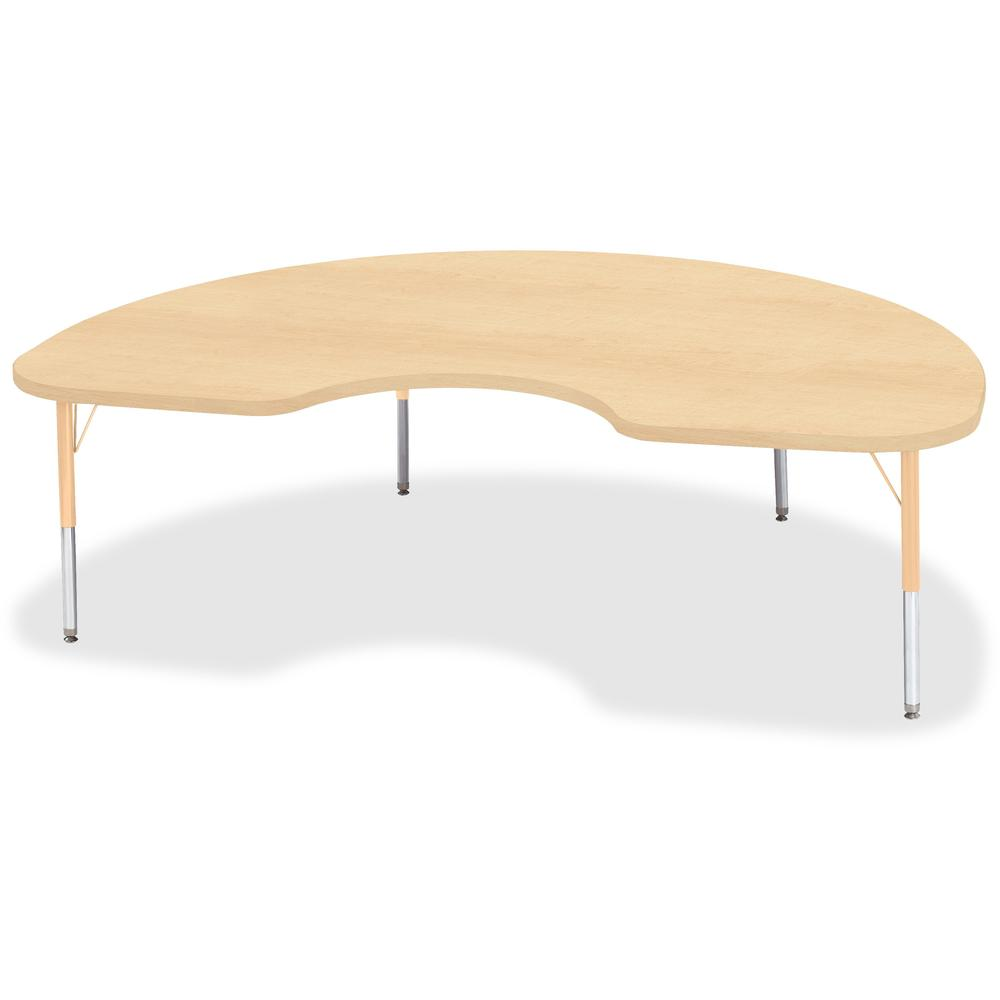 """Jonti-Craft Berries Toddler Height Maple Top/Edge Kidney Table - Laminated Kidney-shaped, Maple Top - Four Leg Base - 4 Legs - 72"""" Table Top Length x 48"""" Table Top Width x 1.13"""" Table Top Thickness - . Picture 1"""