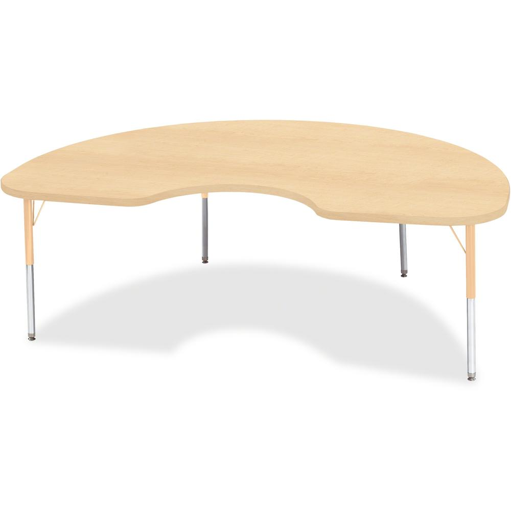 """Berries Elementary Height Maple Top/Edge Kidney Table - Laminated Kidney-shaped, Maple Top - Four Leg Base - 4 Legs - 72"""" Table Top Length x 48"""" Table Top Width x 1.13"""" Table Top Thickness - 24"""" Heigh. Picture 1"""