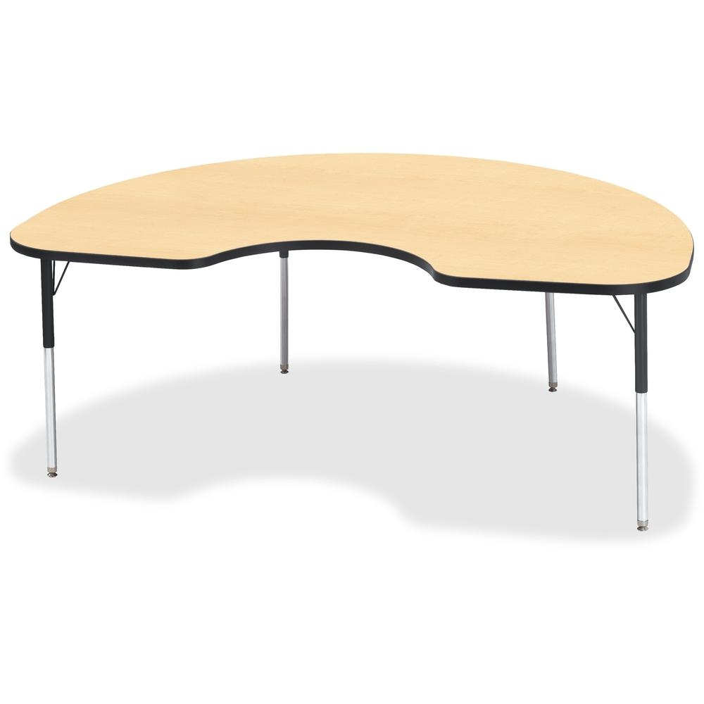 """Berries Adult Color Top Kidney Table - Laminated Kidney-shaped, Maple Top - Four Leg Base - 4 Legs - 72"""" Table Top Length x 48"""" Table Top Width x 1.13"""" Table Top Thickness - 31"""" Height - Assembly Requ. Picture 1"""