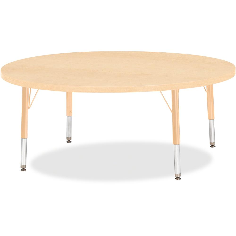 """Berries Toddler Height Maple Top/Edge Round Table - Laminated Round, Maple Top - Four Leg Base - 4 Legs - 1.13"""" Table Top Thickness x 48"""" Table Top Diameter - 15"""" Height - Assembly Required - Powder C. Picture 1"""