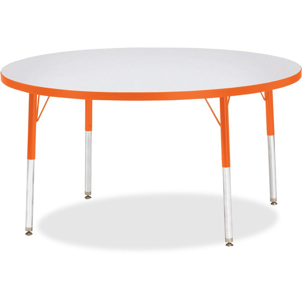 "Berries Adult Height Color Edge Round Table - Laminated Round, Orange Top - Four Leg Base - 4 Legs - 1.13"" Table Top Thickness x 48"" Table Top Diameter - 31"" Height - Assembly Required - Powder Coated. Picture 1"