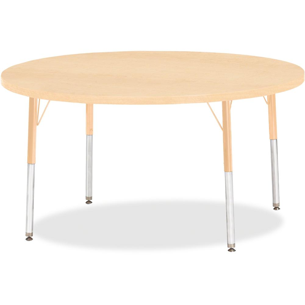 "Berries Adult Height Maple Top/Edge Round Table - Laminated Round, Maple Top - Four Leg Base - 4 Legs - 1.13"" Table Top Thickness x 48"" Table Top Diameter - 31"" Height - Assembly Required - Powder Coa. Picture 1"