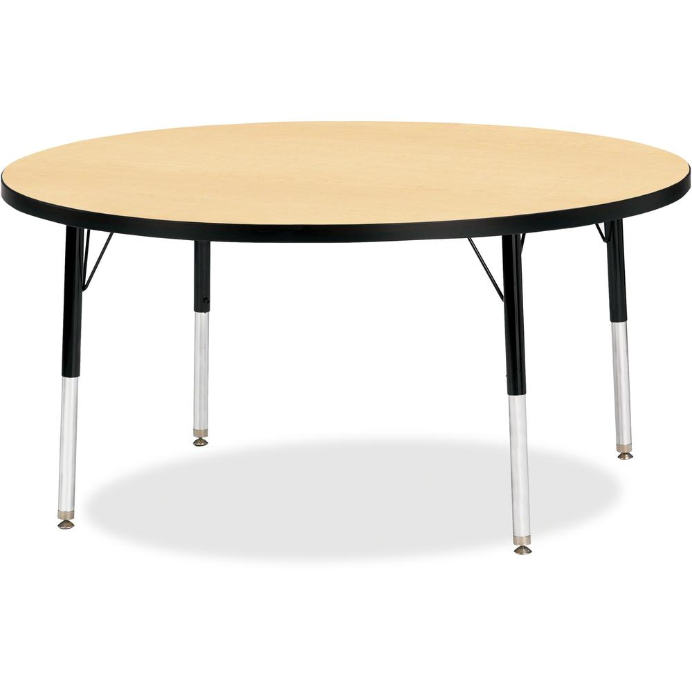 """Berries Elementary Height Color Top Round Table - Laminated Round, Maple Top - Four Leg Base - 4 Legs - 1.13"""" Table Top Thickness x 48"""" Table Top Diameter - 24"""" Height - Assembly Required - Powder Coa. Picture 1"""