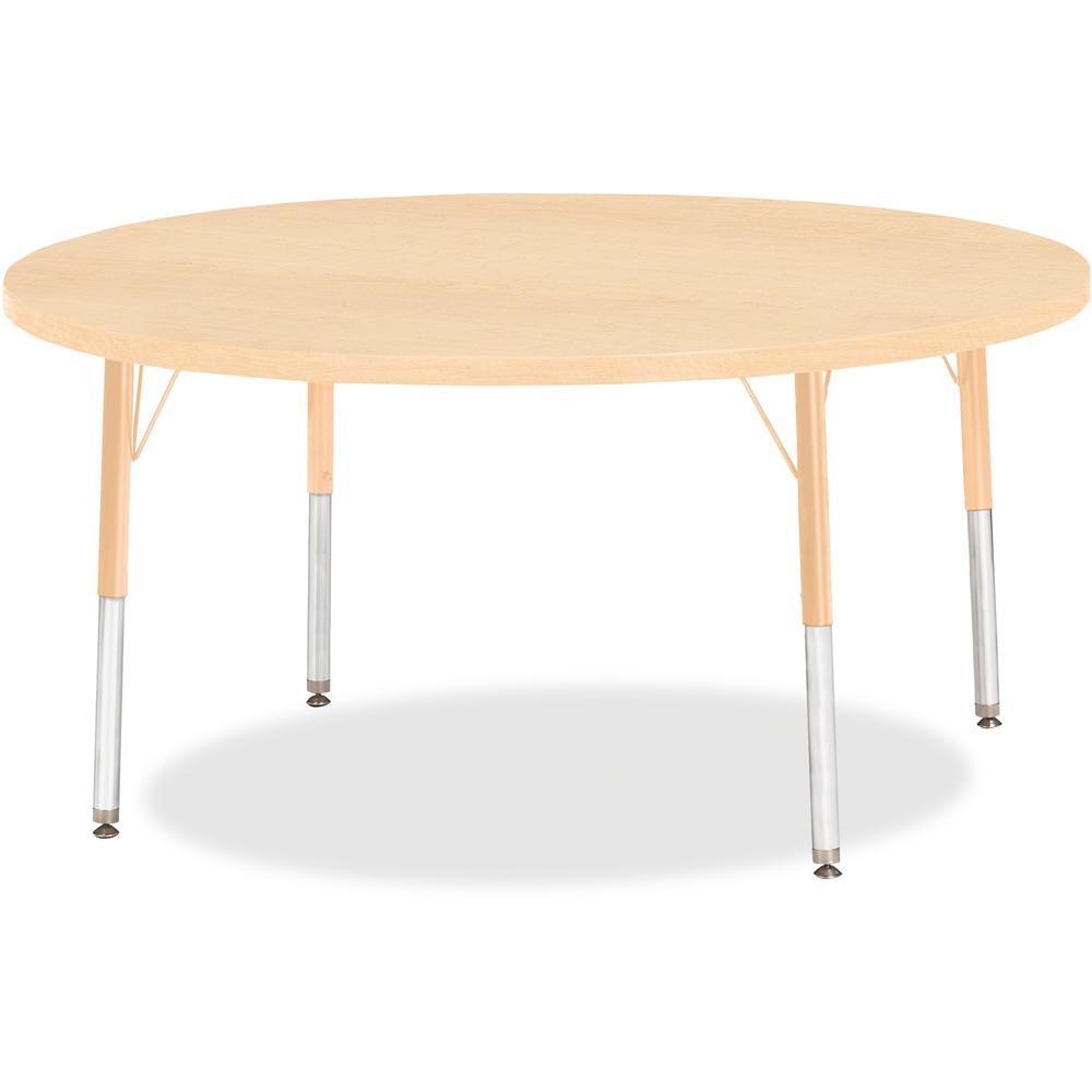 """Berries Elementary Height Maple Top/Edge Round Table - Laminated Round, Maple Top - Four Leg Base - 4 Legs - 1.13"""" Table Top Thickness x 48"""" Table Top Diameter - 24"""" Height - Assembly Required - Powde. Picture 1"""