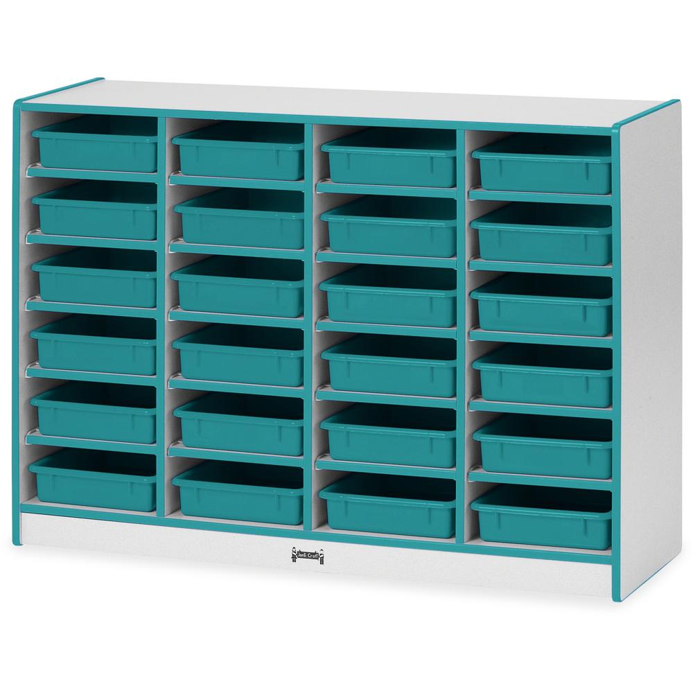 "Rainbow Accents Rainbow Mobile Paper-Tray Storage - 24 Compartment(s) - 35.5"" Height x 48"" Width x 15"" Depth - Floor - Teal - Hard Rubber - 1Each. Picture 1"