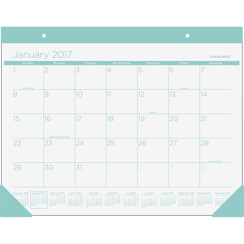 At-A-Glance Color Play Deskpad - Julian - Daily, Monthly - 1 Year ...
