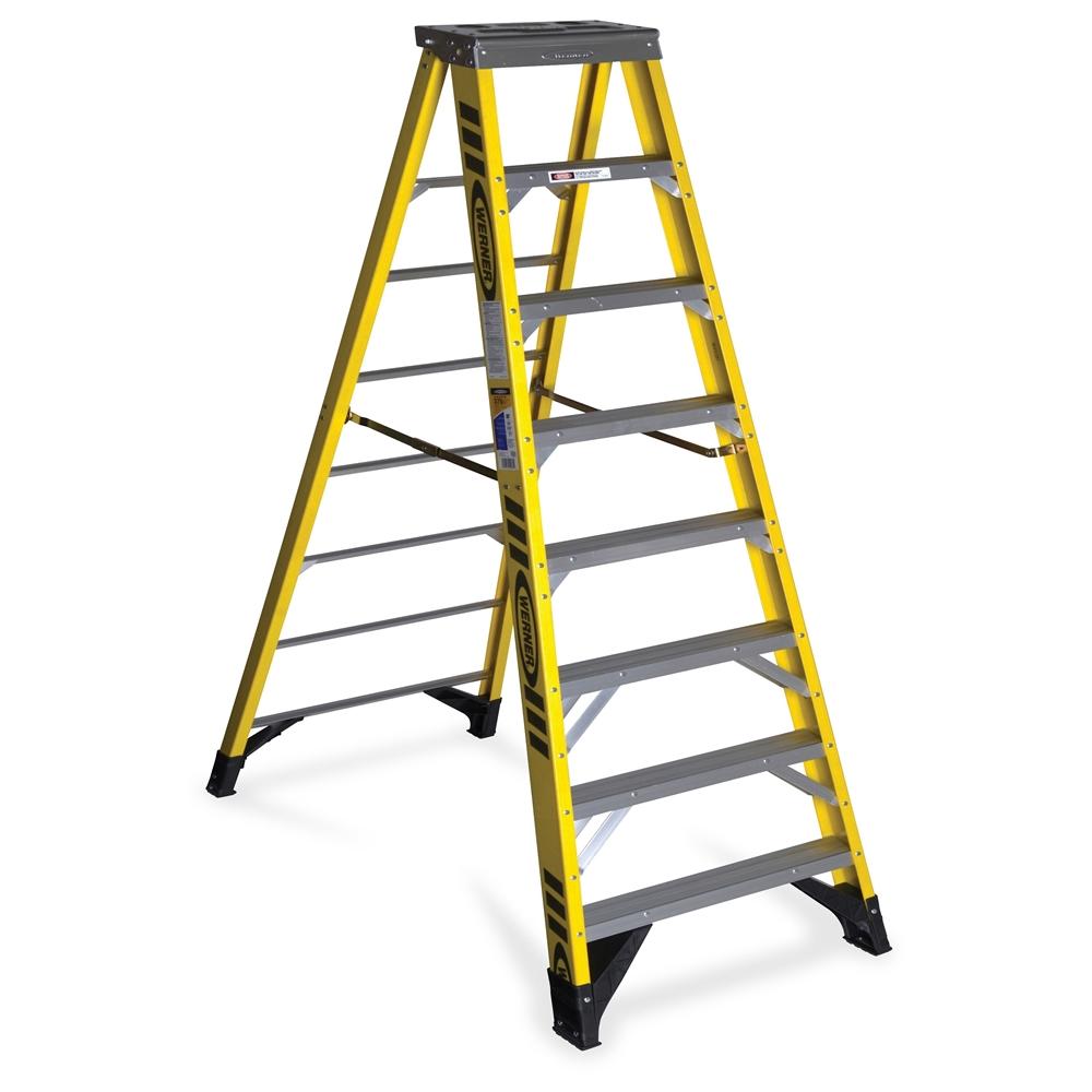 Werner 7308 8 Ft Type Iaa Fiberglass Step Ladder 375 Lb