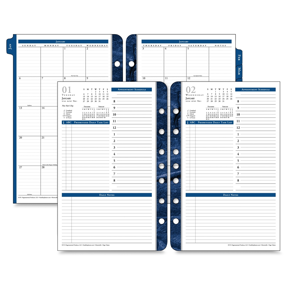 Academic Calendar Planner Refill : Franklin covey monticello planner refill julian daily