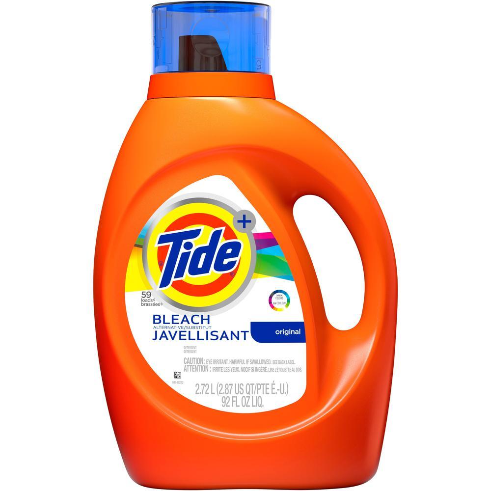 Tide Plus Bleach Lndry Detergent - Liquid - 92 fl oz (2.9 quart) - Original Scent - 1 / Bottle - Orange. Picture 1