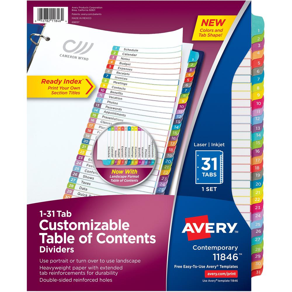 """Avery® 1-31 Arched Tab Custom TOC Dividers Set - 31 x Divider(s) - 1-31, Table of Contents - 31 Tab(s)/Set - 8.5"""" Divider Width x 11"""" Divider Length - 3 Hole Punched - White Paper Divider - Multic. Picture 1"""