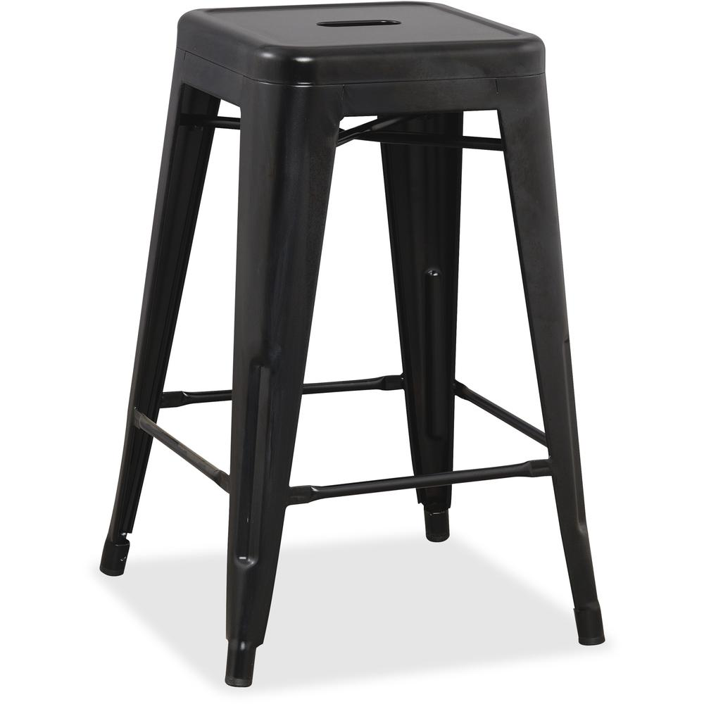 Lorell Metal Stool Powder Coated Frame Black Metal