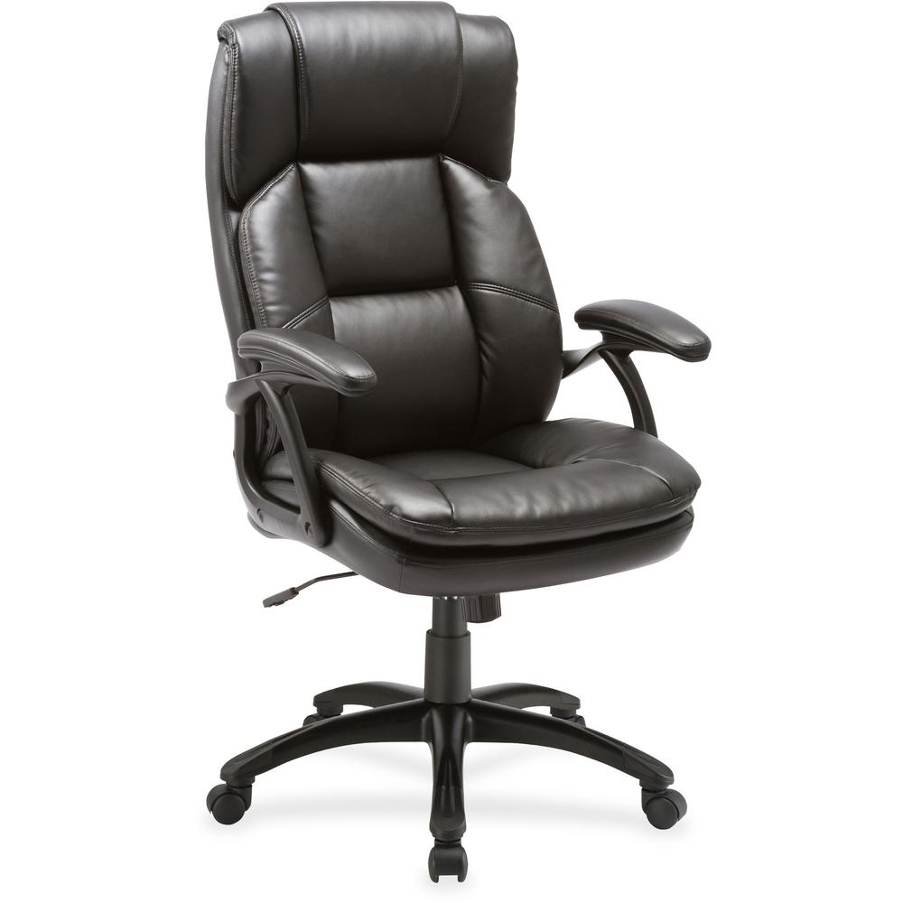 Lorell Black Base High Back Leather Chair Bonded Leather