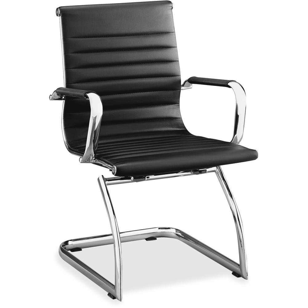Lorell Modern Chair Mid Back Leather Guest Chair   Leather Seat   Leather  Back   Cantilever Sled Base   Black ...