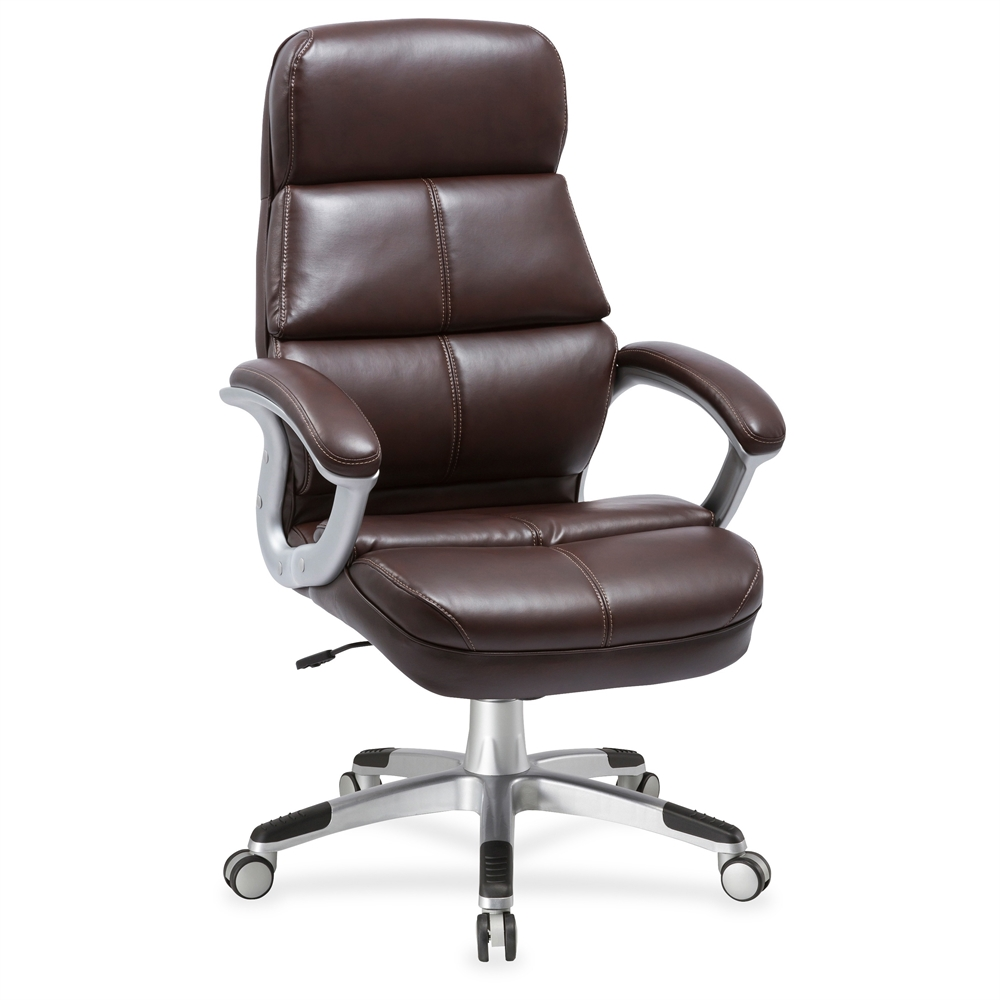 30 Inch Desk Chair: Lorell Brown Bonded Leather High-back Chair