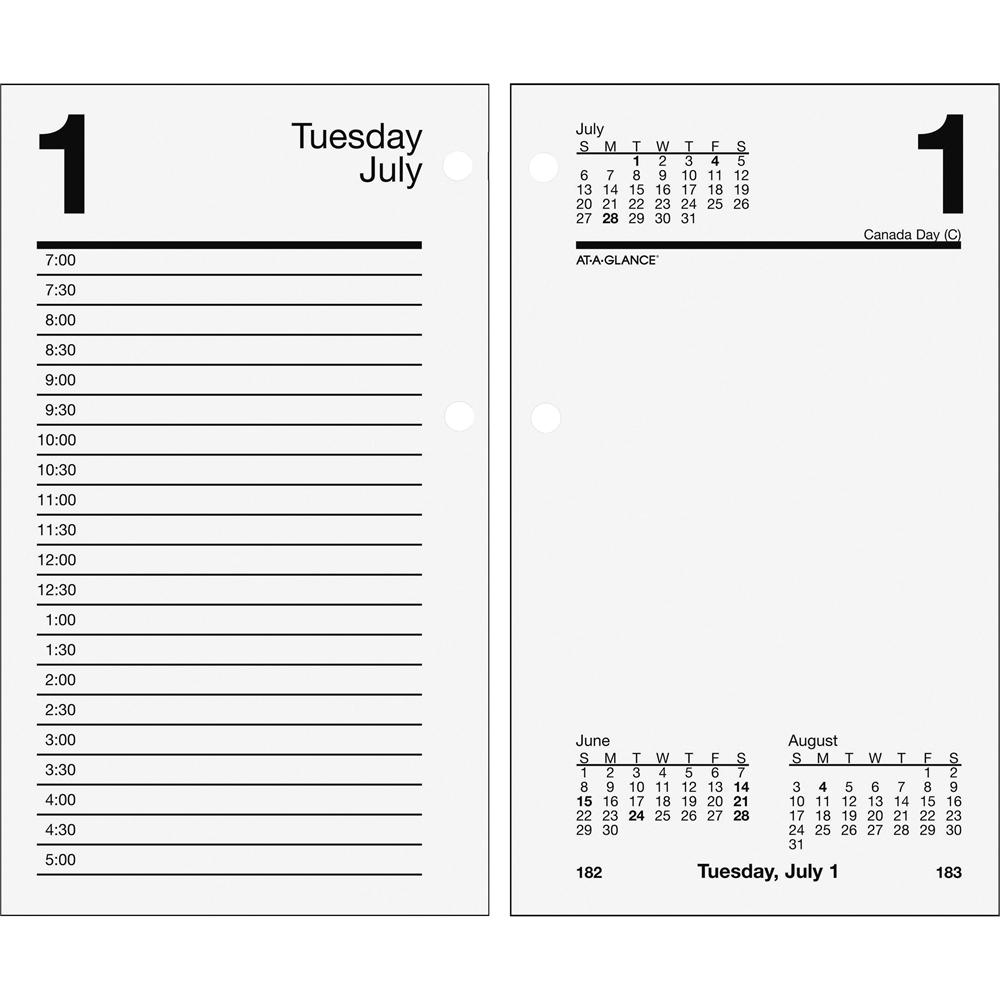 At A Glance Loose Leaf Daily Desk Calendar Refill Daily