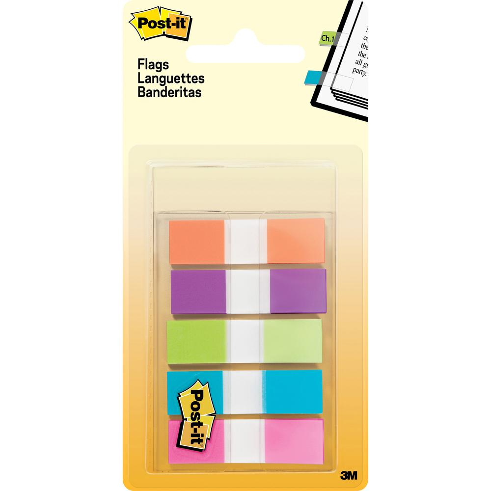 """Post-it® 1/2""""W Flags in On-the-Go Dispenser - Bright Colors - 100 x Assorted - 0.50"""" x 1.75"""" - Assorted - Removable - 100 / Pack. Picture 1"""