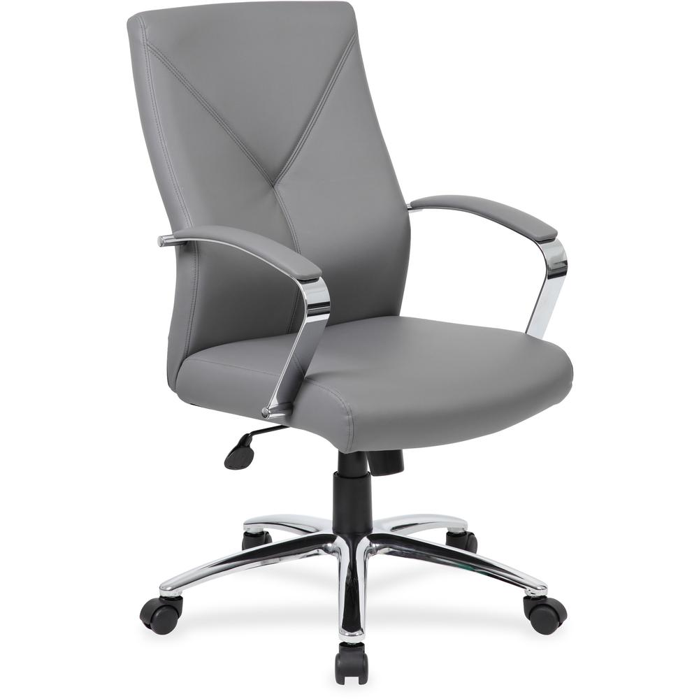 Boss B10101 Executive Chair - Gray LeatherPlus Seat - Gray Leather, Polyurethane Back - Chrome, Black Chrome Frame - 5-star Base - 1 Each. Picture 1
