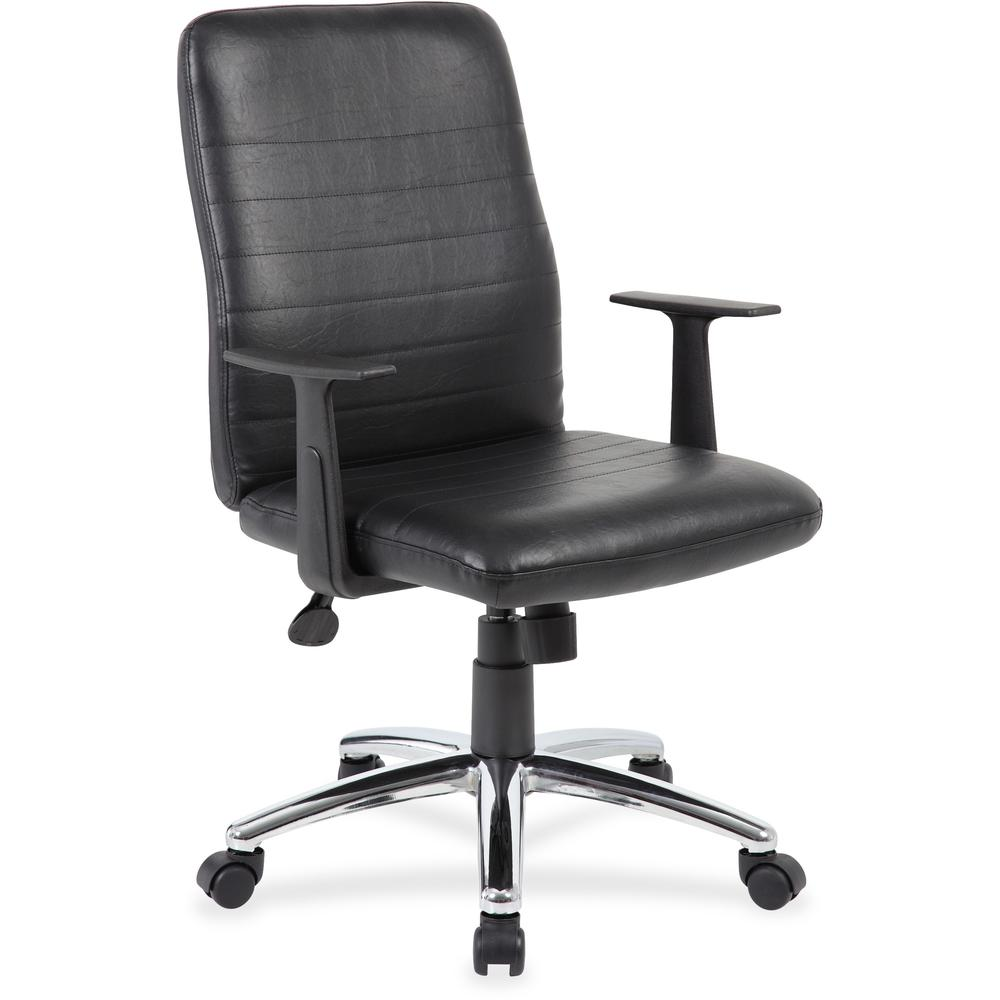 Boss B431-BK Retro Task Chair with Black T-Arms - Black Vinyl Seat - Black Vinyl Back - Chrome, Black Chrome Frame - 5-star Base - 1 Each. Picture 1