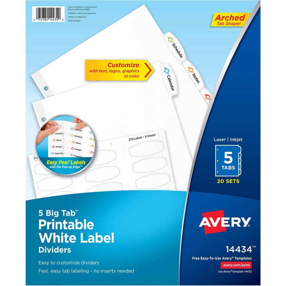 """Avery® Big Tab Printable White Label Dividers - 100 x Divider(s) - 5 - 5 Tab(s)/Set - 8.5"""" Divider Width x 11"""" Divider Length - 3 Hole Punched - White Paper Divider - White Paper Tab(s) - 6. Picture 1"""