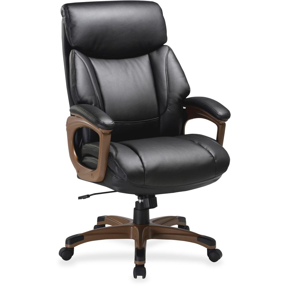 """Lorell Executive Chair - Black, Walnut - Bonded Leather - 31.8"""" Width x 28"""" Depth x 45.5"""" Height - 1 Each. Picture 1"""