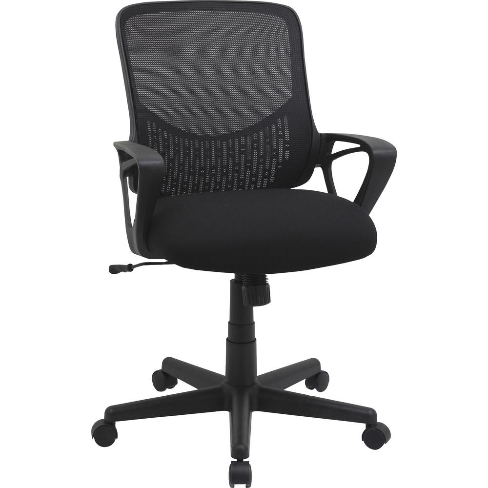 """Lorell Value Collection Mesh Back Task Chair - Black Fabric Seat - Black Fabric Back - 24.6"""" Width x 14.3"""" Depth x 23.6"""" Height - 1 Each. Picture 1"""
