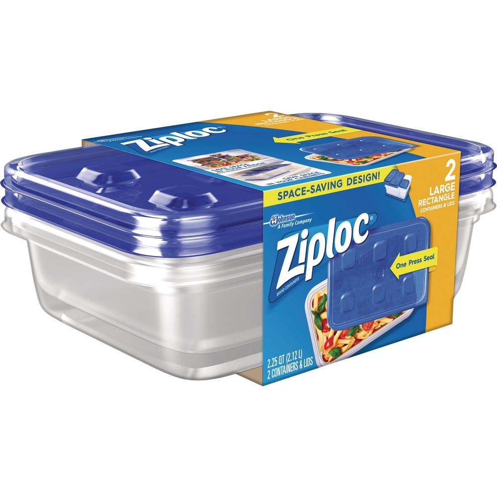 Ziploc Food Storage Container Set 2 3 Quart Lid Plastic Dishwasher Safe Microwave Clear