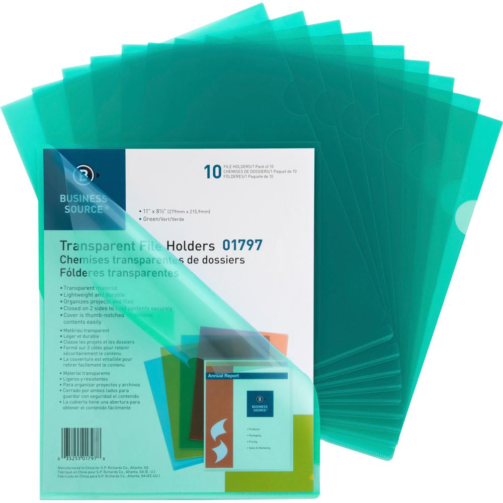"Business Source Transparent Poly File Holders - Letter - 8 1/2"" x 11"" Sheet Size - 20 Sheet Capacity - Polypropylene - Green - 10 / Pack. Picture 1"