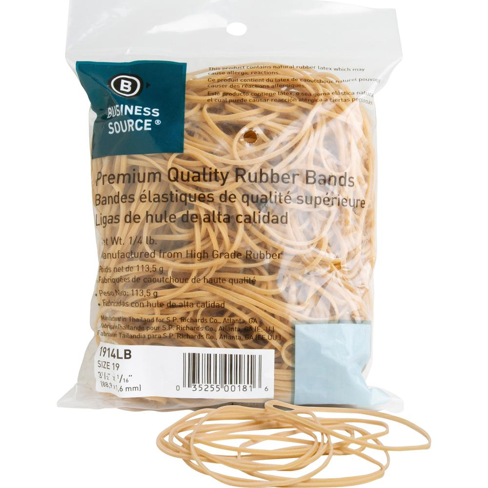 "Business Source Rubber Bands - 3.5"" Length - 62 mil Thickness - 425 / Pack - Natural. Picture 1"