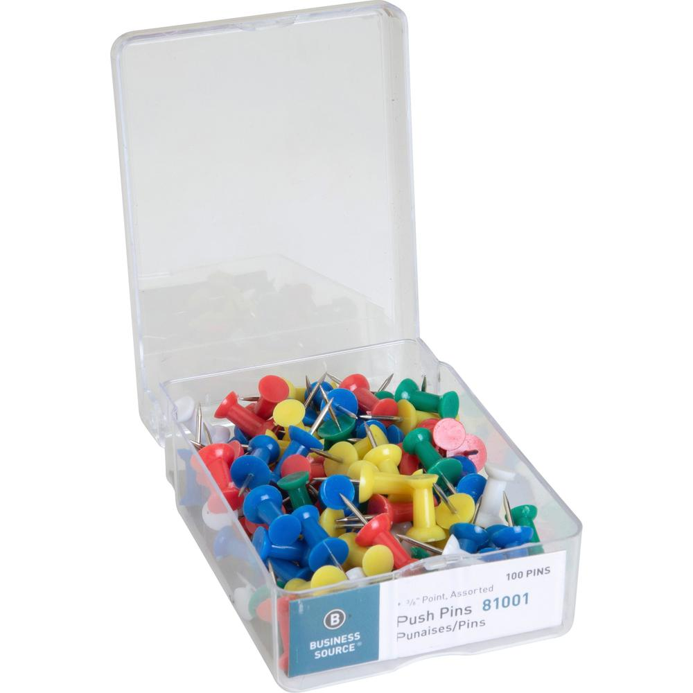 """Business Source 1/2"""" Head Push Pins - 0.50"""" Head - 100 / Box - Assorted - Steel. Picture 1"""