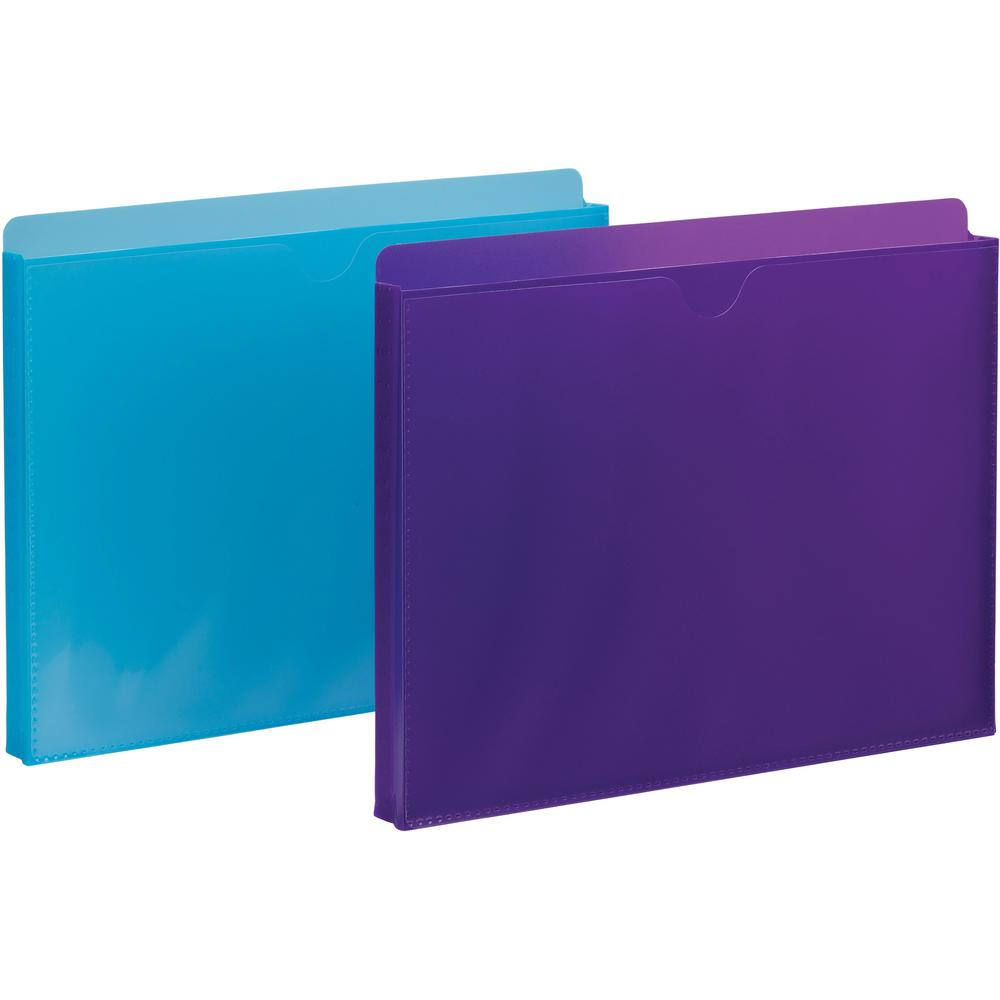 """Smead Expanding File Jackets with Clear Sleeve - Letter - 8 1/2"""" x 11"""" Sheet Size - 1"""" Expansion - Straight Tab Cut - Poly - Purple, Teal - 2 / Pack"""