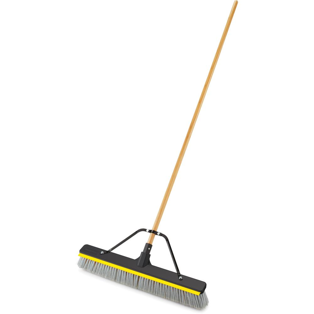 """Rubbermaid Commercial 24"""" Push Broom With Squeegee - 3"""" Polypropylene, Polyethylene Terephthalate (PET), Resin Bristle - 0.94"""" Handle Diameter - 3"""" Overall Length - Lacquered Wood Handle - 1 Each. Picture 1"""