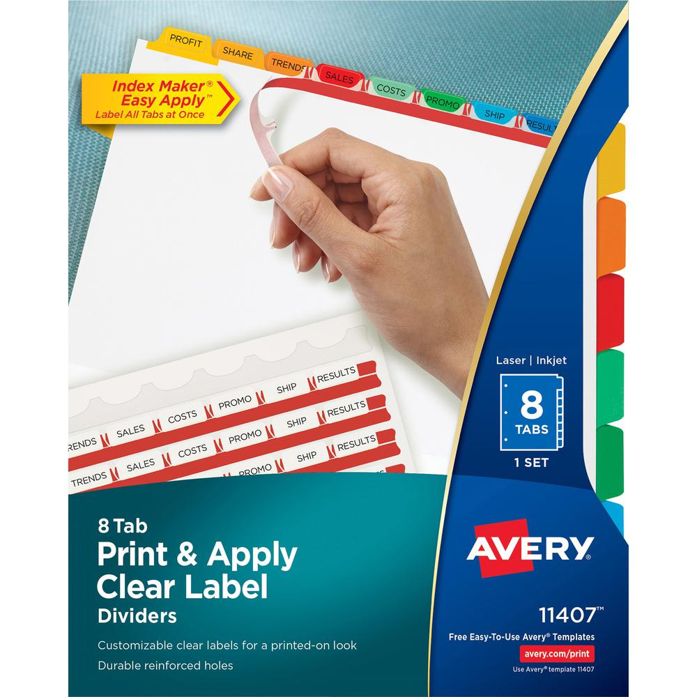 """Avery® Index Maker Index Divider - 8 x Divider(s) - Print-on Tab(s) - 8 - 8 Tab(s)/Set - 8.5"""" Divider Width x 11"""" Divider Length - 3 Hole Punched - White Paper Divider - Multicolor Paper Tab(s). Picture 1"""