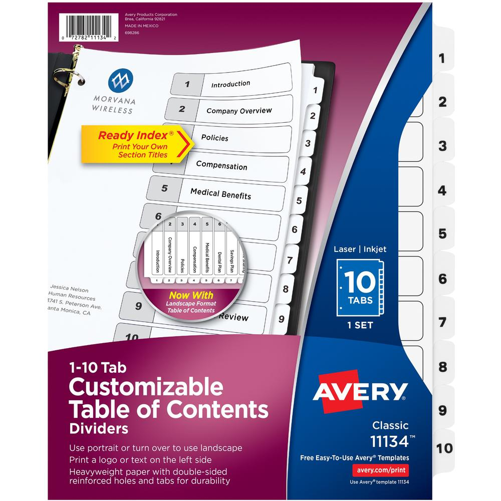 """Avery® Ready Index Classic Tab Binder Dividers - 10 x Divider(s) - 1-10, Table of Contents - 10 Tab(s)/Set - 8.5"""" Divider Width x 11"""" Divider Length - 3 Hole Punched - White Paper Divider - White . Picture 1"""